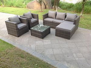 Fimous 6 Seater Rattan Sofa Set Coffee Table Chair Footstool Outdoor Garden Furniture Grey
