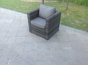 Rattan single sofa chair patio outdoor garden furniture mixed grey