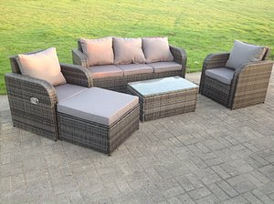 6 Seater Rattan Reclining Sofa Oblong Coffee Table Set (Gray)