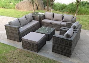 9 Seater Rattan Sofa Set With 2 Coffee Table (Dark Gray Mix)
