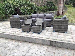 7 Seater Rattan Sofa Coffee Table