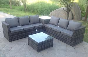 6 Seater Rattan Sofa Set With 2 Coffee Table Grey Hybrid