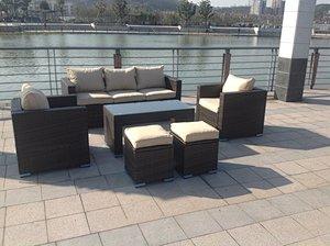 7 Seater Rattan Sofa Coffee Table Set (Brown)