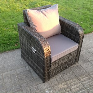 Single Reclining Rattan Armrest Chair Patio Outdoor Garden Furniture With Cushion