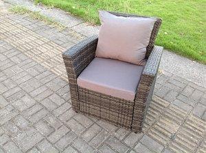 Rattan high-back single armrest sofa chair patio outdoor garden furniture with cushion