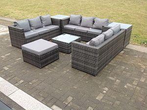 10 Seater Outdoor Lounge Sofa Garden furniture Rattan Sofa Set with Table Set Grey