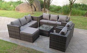 9 Seater Grey Rattan Sofa Set Coffee Table Footstool Garden Furniture Outdoor