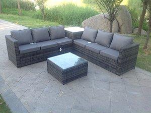 Fimous 6 Seater Grey Rattan Corner Sofa Set 2 Tables Garden Furniture Outdoor