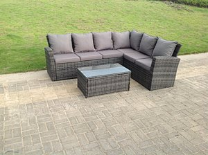 Fimous 6 Seater Right High Back Grey Rattan Corner Sofa Set Oblong Coffee Table Garden Furniture Outdoor