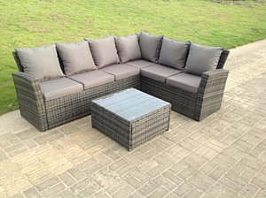 Fimous 6 Seater Right High Back Grey Rattan Corner Sofa Set Square Coffee Table Garden Furniture Outdoor