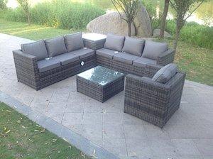 Fimous 7 Seater Grey Rattan Corner Sofa Set 2 Coffee Table Chair Garden Furniture Outdoor