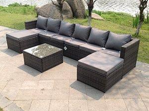 Fimous Lounge Rattan Corner Sofa Set Coffee Table Foot Rest Garden Furniture Outdoor
